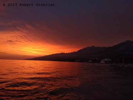 Chorvatsko, západ slunce
