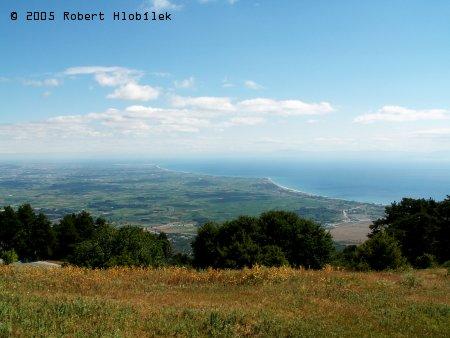Pohled na pobřeží z Olympského pohoří