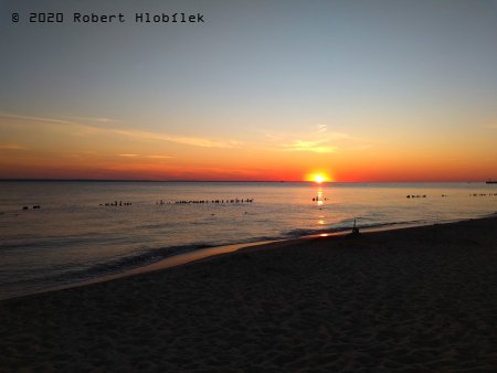 Hel - západ slunce na pláži